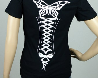 "T-shirt woman black waisted size ""CORSET""size S"