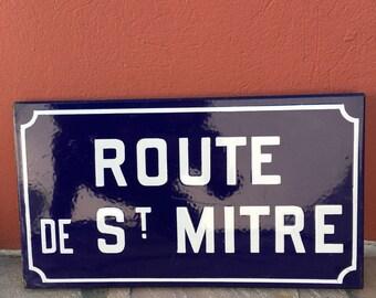 Old French Street Enameled Sign Plaque - vintage mitre 2