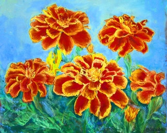 Marigold notecard, floral note card, orange flowers, blank card, free shipping, original pastel painting, greeting cards, gifts for her.
