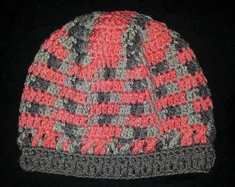 Crocheted Slouchy Hat Infrared/Grey