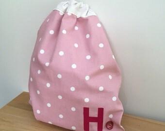 Girl's pink polka dot PE bag - can be personalised