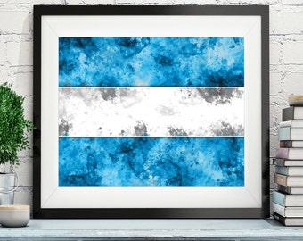 El Salvador Flag Art, El Salvador Flag Print, Flag Poster, Country Flags, Watercolor Painting, Watercolor Flag, Poster, Housewarming Gift