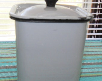 Gray enamel covered container with black trim vintage