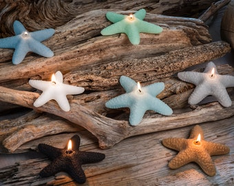 Seapoint Starfish Beeswax Candles set of three