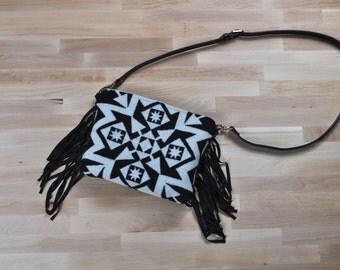 Black and White Boho Print Fringe Crossbody Bag