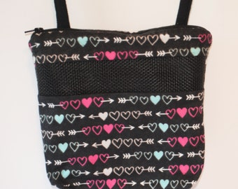 Sugar Glider Bonding Pouch, baby hedgehog bonding bag, small exotic nesting supplies, zipper bag, snuggle sack, Hearts and Arrows Flannel