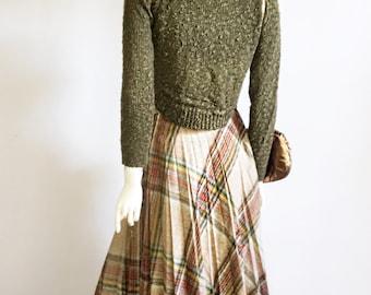Vintage Small Plaid Midi Skirt