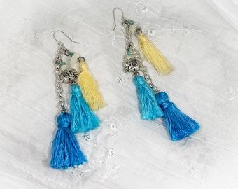 Tassel Elephant Dangle Earrings Boho Style Festival Fashion Women Accessory Bohemian Gypsy