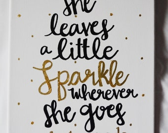 She leaves a little sparkle wherever she goes, kate spade - 11x14in canvas