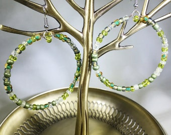 Hand beaded nature inspired hoop earrings, green beaded hoops, glass bead assortment inspired by nature