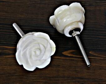 Set of 4 Rose Knob Carved in Bone