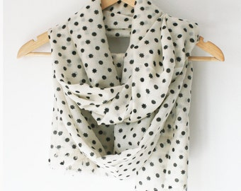 Cashmere Silk Scarf Moon and Stars Print
