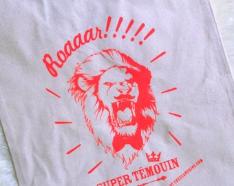 "TOTE BAG ""ROAhhhrrr"" Super Temouin in fluorescent red!"