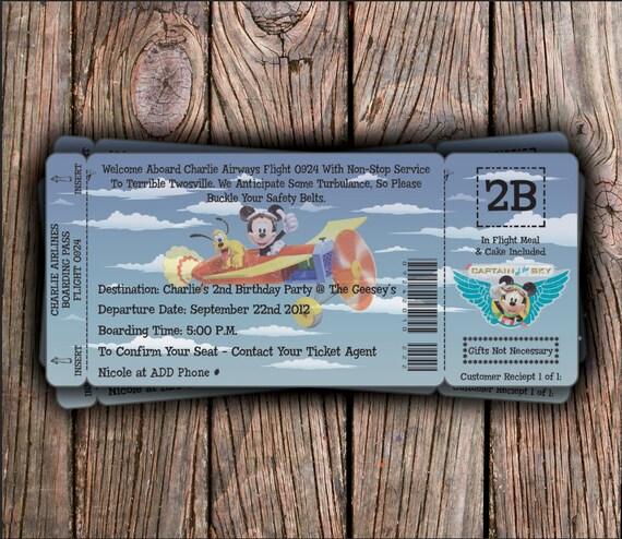 Disney Airways Birthday Invitation