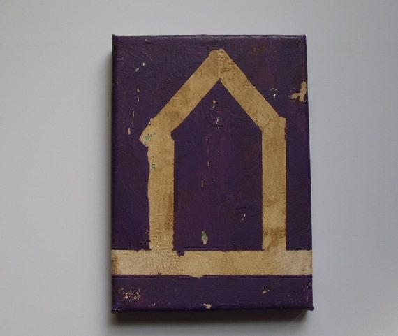 "home-original primitive folk art/outsider art painting-5"" x 7"" ready to hang"