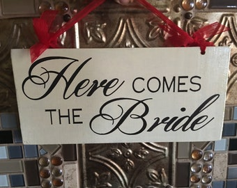 Two Sided Here Comes The Bride Wedding Sign, Bride Groom Ceremony