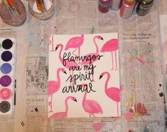 """7.5"""" x 9"""" Watercolor Print - """"Flamingos"""""""