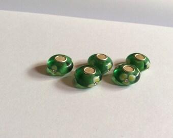 Green beads / murano beads /  European beads / flower beads / glass beads / beads