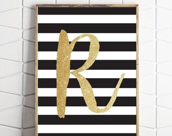R typography print, nursery art, nursery print, kids room art print, personalised letter print, personalised print, letter art