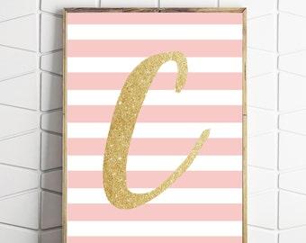 custom letter art, gold initial, custom digital printable, letter wall decor print, monogram art