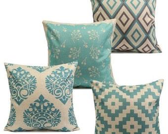 Turquoise Geometric Pillow Cases 45cm x 45cm