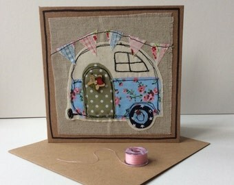 Raw edge applique card with free motion embroidery