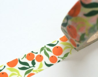 15mm x 10m washi masking tape - green, orange, plant (yu)