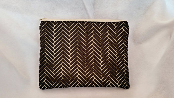 Stylish black purse,zippered blackgold bag,Blackgold clutch