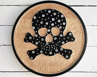 Skull and Nail hand carved plaque/ Fathers Day/ Man Cave