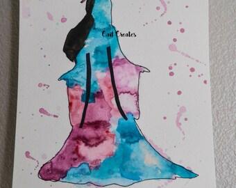 Watercolor Warrior Princess Silhouette