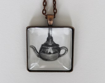Hand Drawn Teapot Charm Necklace