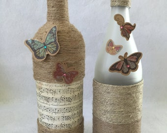 Butterfly Decorated Wine Bottle - 2 Piece Set