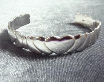 Sterling Silver Heart Cuff Bracelet RB10