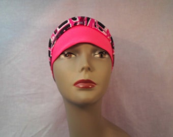 Pink snug fit cap wide band, wide pink and black scarf .