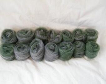 Emerald & Charcoal Art Batt - Superwash Merino