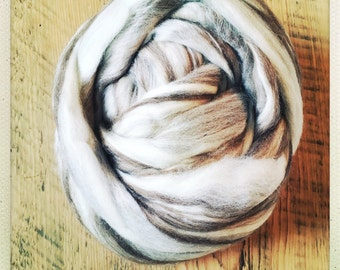 Mixed Brown and Cream Blue Faced Leicester Roving - Amazing for Felting and Handspinning