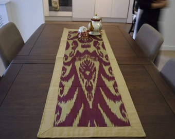 Gorgeous classic, dark red and beige handmade Ikat Table Runner from Tajikistan!