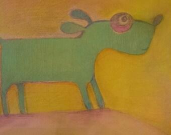 "Original painting, acrilics and pencils, nursery art ""Dog"""