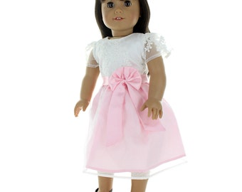 "Beautiful White and Pink Crochet Dress for 18"" dolls"