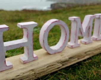 Handmade Driftwood HOME decoration - crafted from locally sourced driftwood here in Cornwall