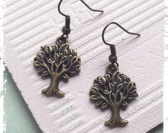 Bronze gum tree earrings, vintage, natural, gift