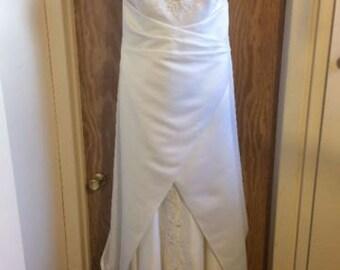 White Satin Embroidered Wedding Dress