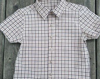 3T - Boys' Beige / Navy Plaid Short-Sleeved Dress Shirt