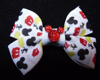 Disney bow - Mickey Parts - Red Glitter