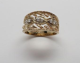 Gorgeous 10mm Wide Filigree Diamond Wedding Band / Ring