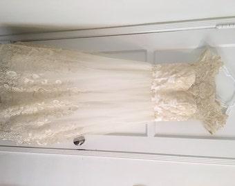 Champagne Lace Wedding Dress - Size 6