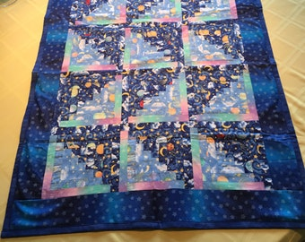 Crib size Baby Quilt....Stars and moons print