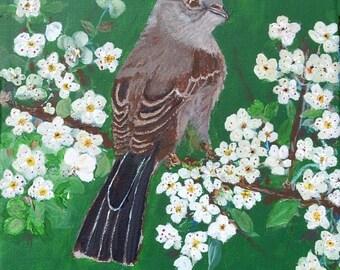 Mockingbird Sitting in the Garden