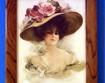 Victorian Lady with large Hat with Roses