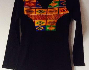 Black long sleeve African print t-shirt